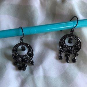 Black/grey mini dangle earrings